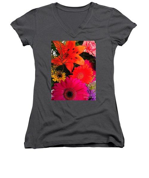 Women's V-Neck T-Shirt (Junior Cut) featuring the photograph Glowing Bright by Meghan at FireBonnet Art