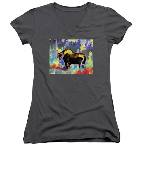Electric Moose Women's V-Neck (Athletic Fit)