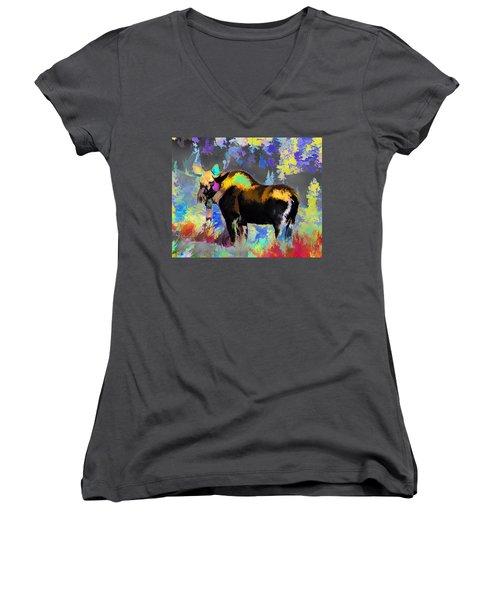 Electric Moose Women's V-Neck (Athletic Fit)