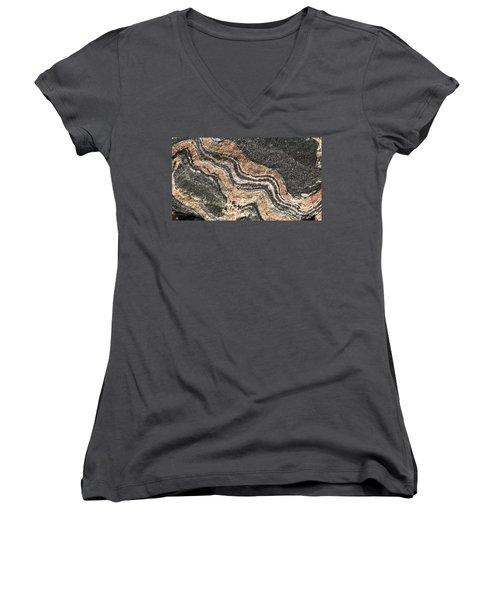 Gneiss Rock  Women's V-Neck T-Shirt (Junior Cut) by Les Palenik