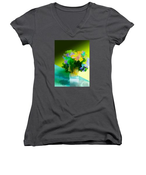 Women's V-Neck T-Shirt (Junior Cut) featuring the digital art Go Fleur by Frank Bright