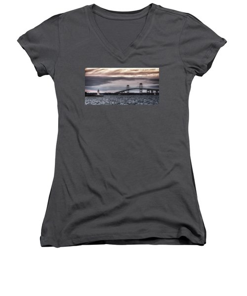 Goat Island Lighthouse And Newport Bridge Women's V-Neck T-Shirt (Junior Cut)