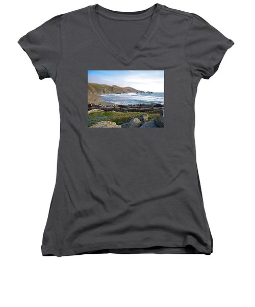 Goat Rock State Beach On The Pacific Ocean Near Outlet Of Russian River-ca  Women's V-Neck T-Shirt (Junior Cut) by Ruth Hager