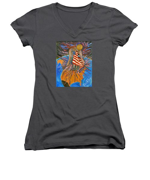 God Shed His Grace On Thee Women's V-Neck T-Shirt (Junior Cut) by Cassie Sears