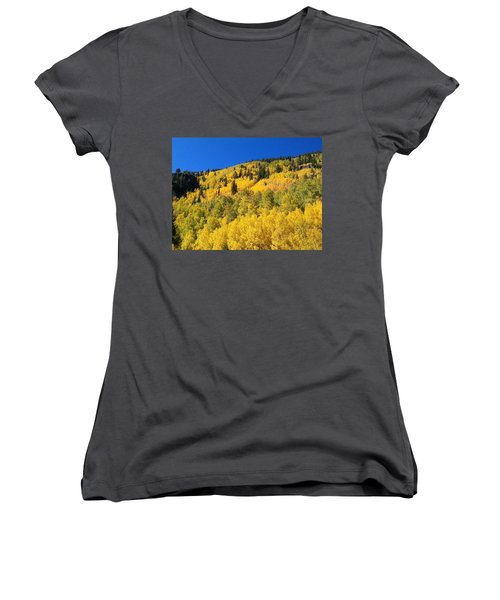Women's V-Neck T-Shirt (Junior Cut) featuring the photograph Going Gold by Fortunate Findings Shirley Dickerson