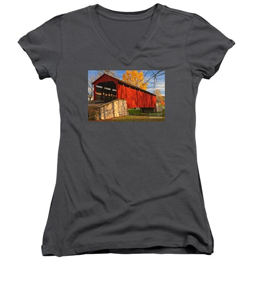 Gold Above The Poole Forge Covered Bridge Women's V-Neck