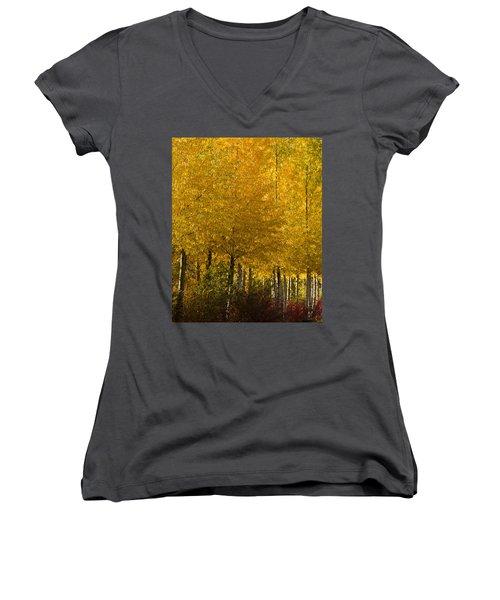 Women's V-Neck T-Shirt (Junior Cut) featuring the photograph Golden Aspens by Don Schwartz