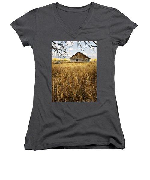 Women's V-Neck T-Shirt (Junior Cut) featuring the photograph Golden Cabin by Sonya Lang