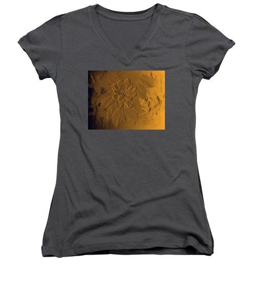 Golden Effulgence Women's V-Neck T-Shirt (Junior Cut) by Jeanette C Landstrom
