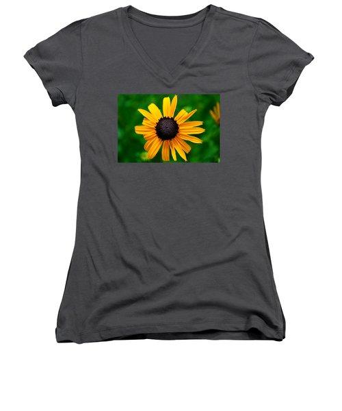Golden Flower Women's V-Neck T-Shirt (Junior Cut) by Matt Harang