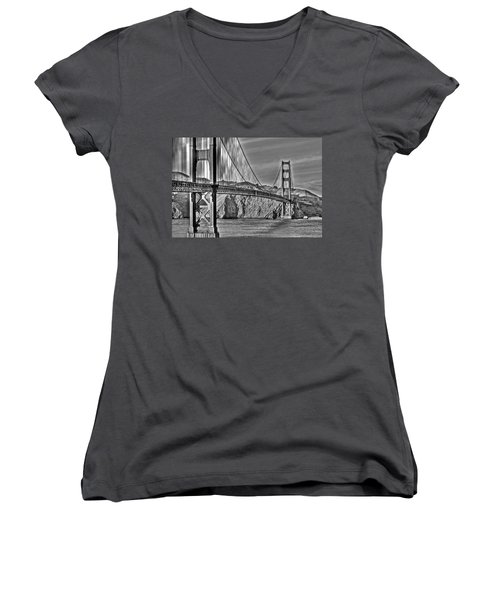 Golden Gate Over The Bay 2 Women's V-Neck T-Shirt (Junior Cut)