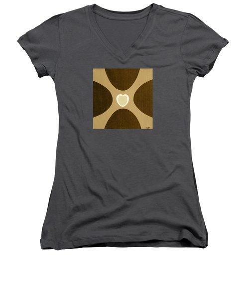 Golden Heart 3 Women's V-Neck T-Shirt (Junior Cut) by Lorna Maza