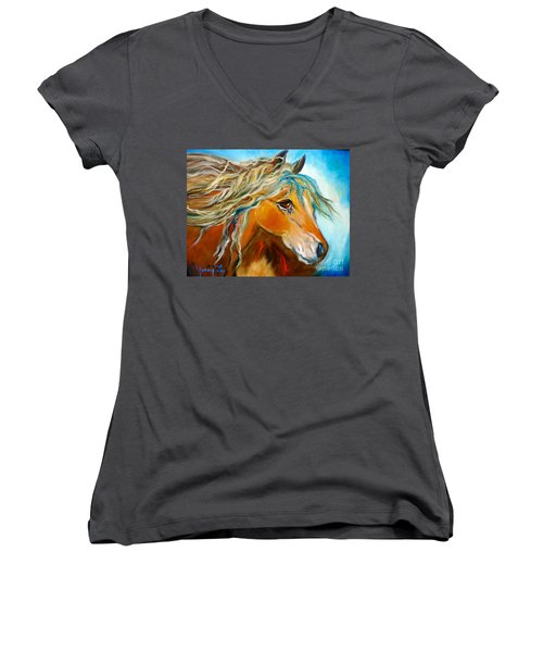 Women's V-Neck T-Shirt (Junior Cut) featuring the painting Golden Horse by Jenny Lee