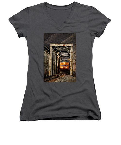 Women's V-Neck T-Shirt (Junior Cut) featuring the photograph Golden Hour Crossing by Ken Smith
