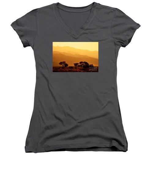 Golden Mountain Light Women's V-Neck T-Shirt (Junior Cut) by David Lawson