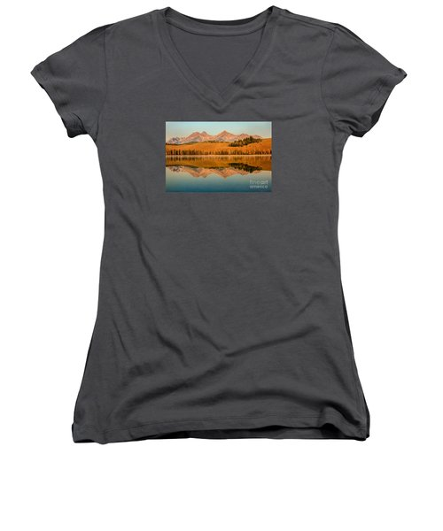 Golden Mountains  Reflection Women's V-Neck T-Shirt (Junior Cut) by Robert Bales