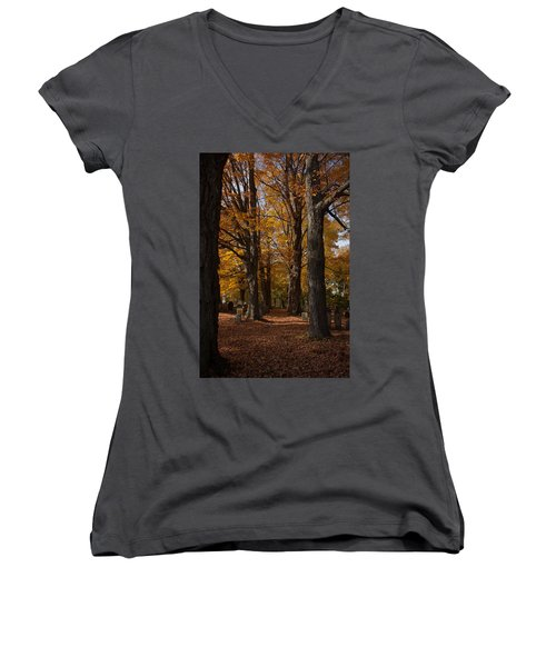 Women's V-Neck T-Shirt (Junior Cut) featuring the photograph Golden Rows Of Maples Guide The Way by Jeff Folger