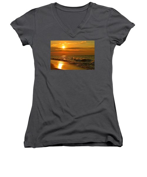 Golden Sunrise Colors With Waves And Horizon Clouds On Navarre Beach Women's V-Neck T-Shirt (Junior Cut) by Jeff at JSJ Photography