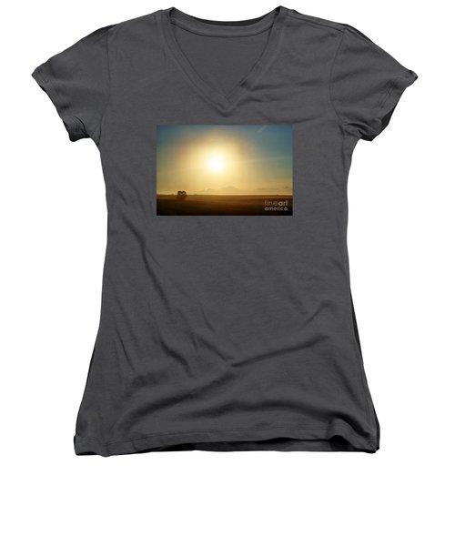 Women's V-Neck T-Shirt (Junior Cut) featuring the photograph Golden Sunset by Judy Palkimas