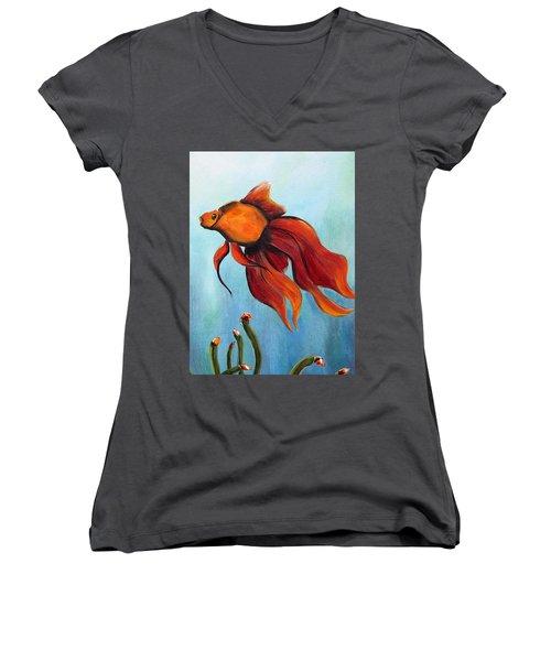Women's V-Neck T-Shirt (Junior Cut) featuring the painting Goldfish by Jolanta Anna Karolska