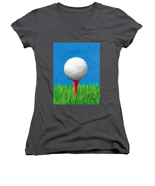 Golf Ball And Tee Women's V-Neck