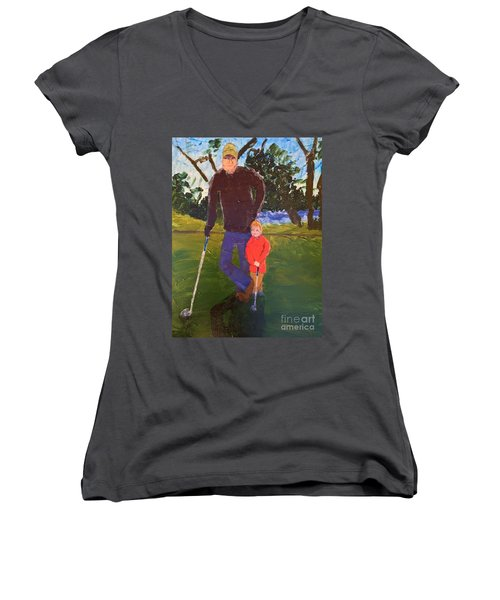 Women's V-Neck T-Shirt (Junior Cut) featuring the painting Golfing by Donald J Ryker III