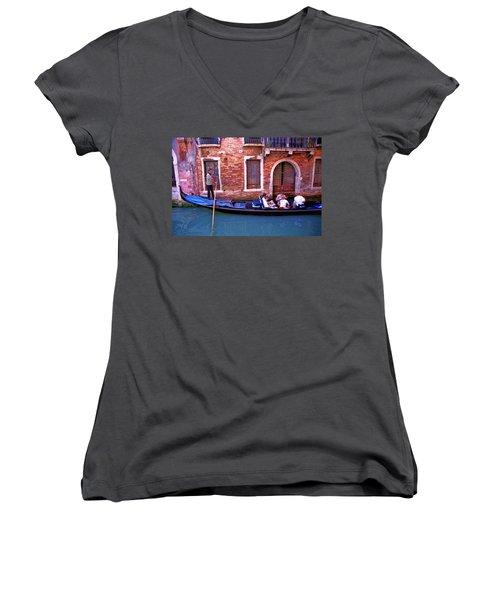Women's V-Neck T-Shirt (Junior Cut) featuring the photograph Gondola 4 by Allen Beatty