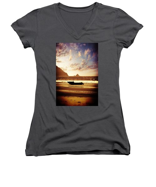 Sea Women's V-Neck T-Shirt (Junior Cut) featuring the photograph Gone Fishin' by Aaron Berg