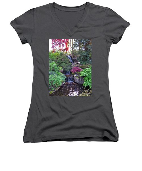 Women's V-Neck T-Shirt featuring the photograph Gone Fishing. Keukenhof Gardens. Holland by Ausra Huntington nee Paulauskaite