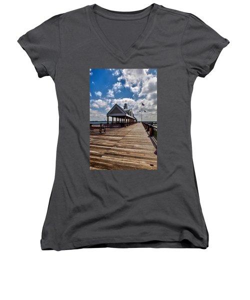 Women's V-Neck T-Shirt (Junior Cut) featuring the photograph Gone Fishing by Sennie Pierson