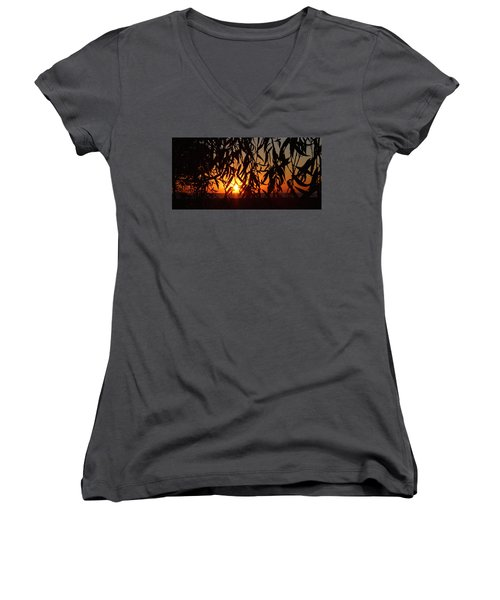 Good Morning Lake Michigan Women's V-Neck T-Shirt (Junior Cut) by Tiffany Erdman