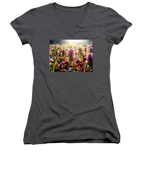 Good Morning Women's V-Neck T-Shirt (Junior Cut) by Nina Ficur Feenan