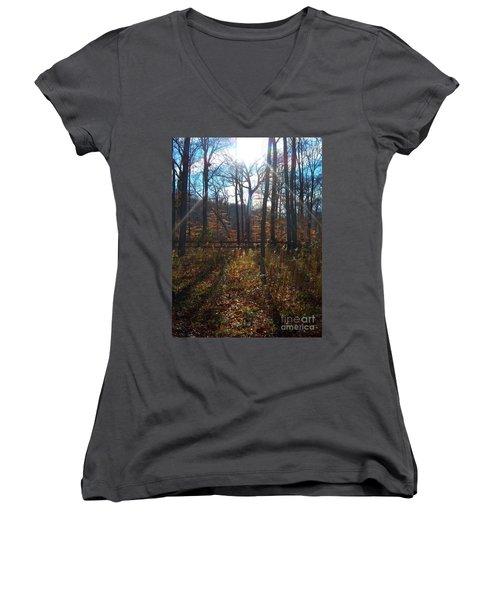 Women's V-Neck T-Shirt (Junior Cut) featuring the photograph Good Morning by Pamela Clements