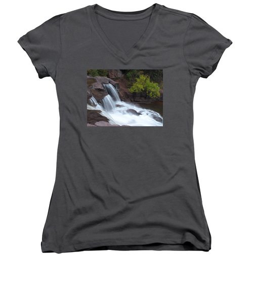Women's V-Neck T-Shirt (Junior Cut) featuring the photograph Gooseberry Falls In Slow Motion by James Peterson