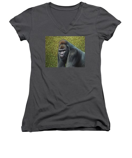 Gorilla With A Hedge Women's V-Neck (Athletic Fit)