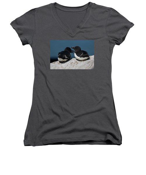 Gossip Mongers Women's V-Neck T-Shirt (Junior Cut) by Brent L Ander