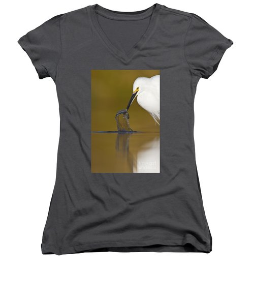 Women's V-Neck T-Shirt (Junior Cut) featuring the photograph Gotcha by Bryan Keil