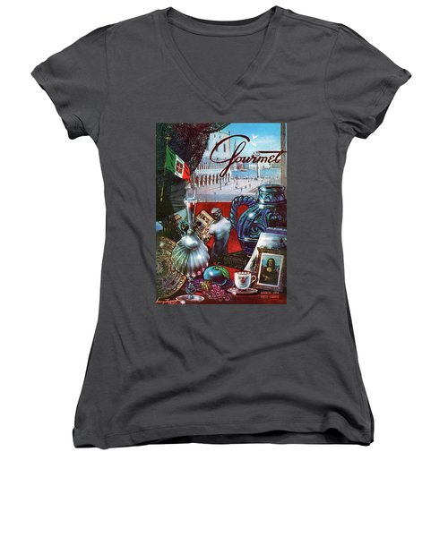 Gourmet Cover Featuring A Variety Of Italian Women's V-Neck