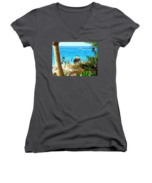 Grace Bay Riding Women's V-Neck T-Shirt (Junior Cut) by Patti Whitten