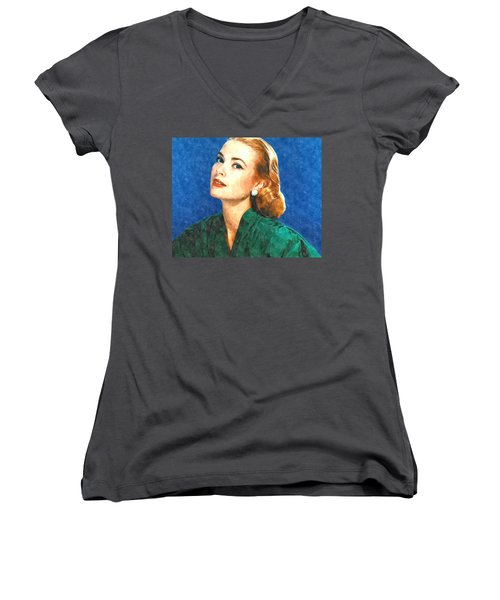 Grace Kelly Painting Women's V-Neck T-Shirt (Junior Cut) by Gianfranco Weiss