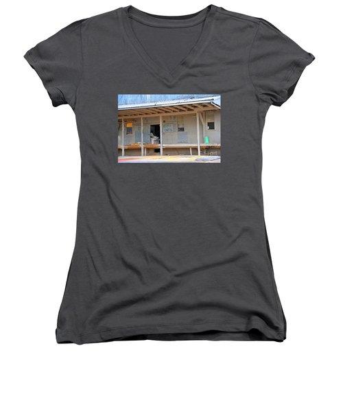 Women's V-Neck T-Shirt (Junior Cut) featuring the photograph Grain Elevator by Terri Gostola