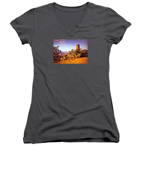Women's V-Neck T-Shirt (Junior Cut) featuring the painting Grand Canyon National Park Golden Hour Watchtower by Bob and Nadine Johnston