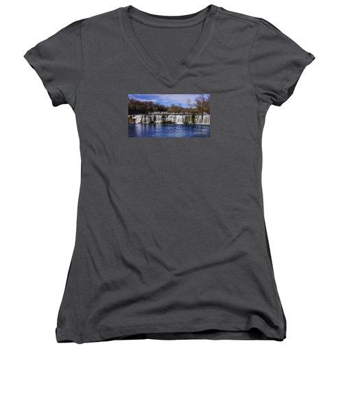 Grand Falls In Joplin Missouri Women's V-Neck T-Shirt (Junior Cut) by Jennifer White
