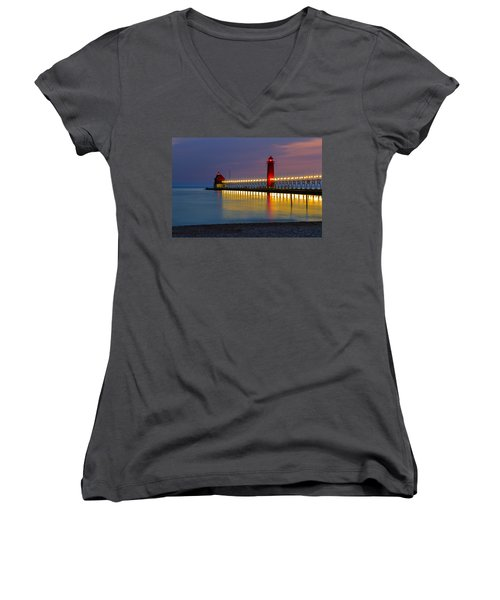 Grand Haven South Pier Lighthouse Women's V-Neck (Athletic Fit)