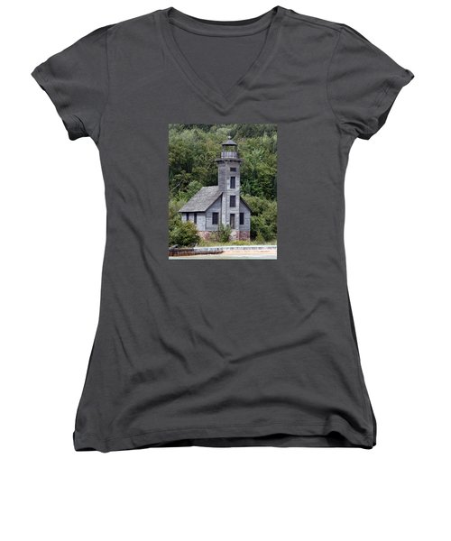 Grand Island East Channel Lighthouse Women's V-Neck T-Shirt (Junior Cut) by George Jones