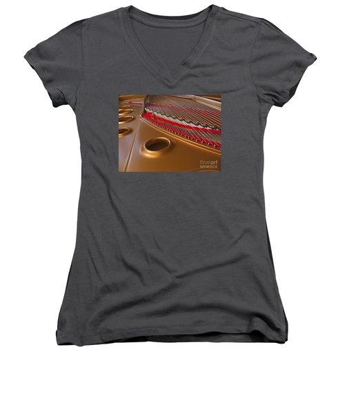 Grand Piano Women's V-Neck T-Shirt (Junior Cut) by Ann Horn