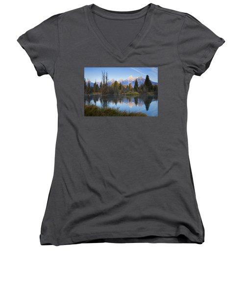 Women's V-Neck T-Shirt (Junior Cut) featuring the photograph Grand Teton Morning Reflection by Sonya Lang