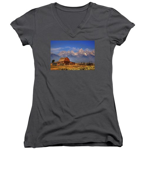 Grand Tetons From Moulton Barn Women's V-Neck T-Shirt (Junior Cut) by Alan Vance Ley