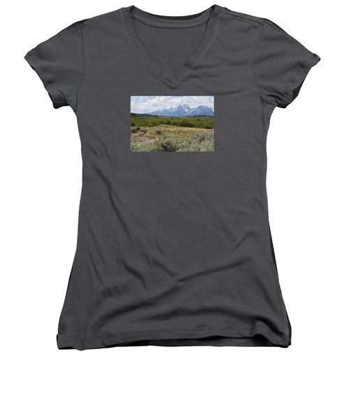 Women's V-Neck T-Shirt (Junior Cut) featuring the photograph Grand Tetons From Willow Flats by Belinda Greb