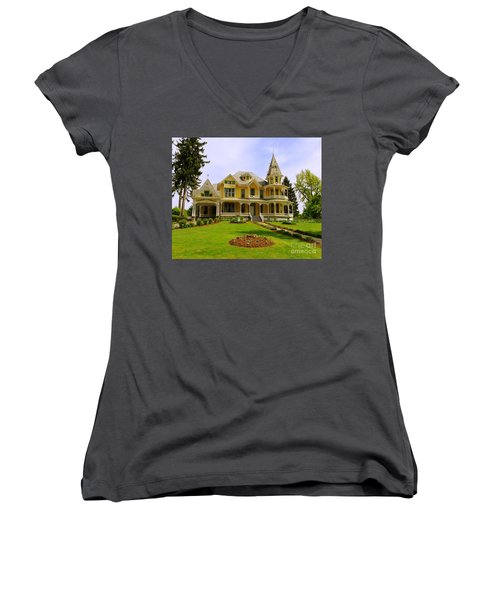 Women's V-Neck T-Shirt (Junior Cut) featuring the photograph Grand Yellow Victorian by Becky Lupe